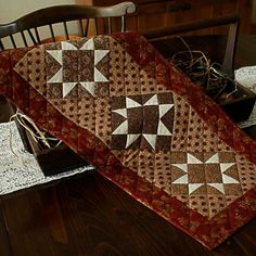 Antique Stars Table Runner by PetitQuilts