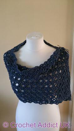 Crochet Addict UK: Flash of Evening Chill Shawl ~ Free Crochet Pattern