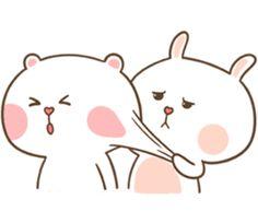 Lovely couple of Bear & Rabbit. Cute Bunny Cartoon, Cute Cartoon Pictures, Cute Love Cartoons, Cartoon Pics, Cute Cat Wallpaper, Cute Disney Wallpaper, Cuddling Gif, Cute Bear Drawings, Love Cartoon Couple