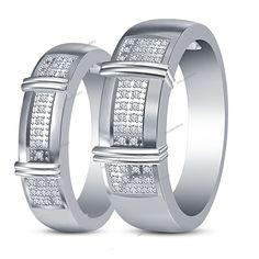 Brilliant Round Cut D/VVS1 Diamond 925 Silver 14k White Gold Finish Couples Band…