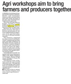 Evening echo features agri event that will happen during SG Cork. A series of workshops will bring together farmers, food producers and restaurant owners. Restaurant Owner, Farmers, Cork, Workshop, September, Bring It On, Shit Happens, How To Plan, Atelier