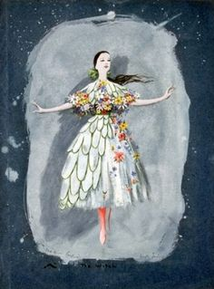 Dorothea Tanning - The Girl, costume design for The Witch, a ballet by John Cranko  1950  Ink and gouache on dark blue paper  16 x 11 1/8 in.