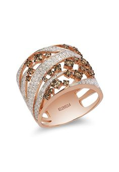 Espresso 14K Rose Gold Cognac and White Diamond Ring, 1.30 TCW