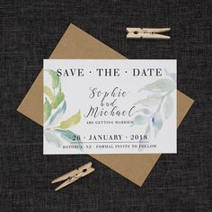 This gorgeous watercolour save the date is wonderfully romantic with dreamy blues and greens in a soft watercolour style. Save The Date Wording, Save The Date Cards, Wedding Invitation Cards, Wedding Stationery, Romantic Wedding Inspiration, Wedding Ideas, Party Hacks, Blue Bouquet, Green Watercolor