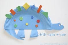 a little delightful: {craft} paper plate dinosaurs party favor activity Dinosaur Activities, Dinosaur Crafts, Craft Activities, Dino Craft, Preschool Dinosaur, Projects For Kids, Diy For Kids, Crafts For Kids, Craft Projects