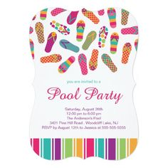 It's a Summer Flip Flop Pool Party Invitation