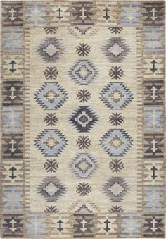 Rizzy Home Gossamer Beige Motif Area Rug Navy Blue Area Rug, Beige Area Rugs, Hand Knotted Rugs, Hand Weaving, Complimentary Color Scheme, Clearance Rugs, Area Rug Runners, Wool Rug, Bohemian Rug