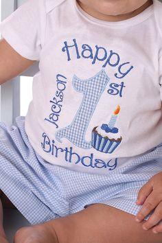 1st birthday onesie for boys | Boys 1st Birthday Blue Gingham Number Cupcake Shirt Or Onesie
