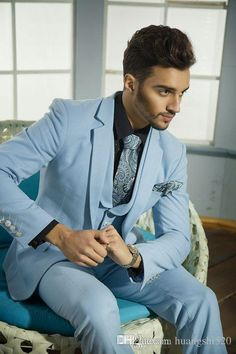 Mens Wedding Suits Handsome Formal Suits for Men Blue Vest Grooms Suite for Wedding 2015 Hot Selling One Button Tuxedos for Men