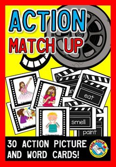 ACTION MATCH UP: 30 ACTION PICTURE AND WORD CARDS : VERBS from FREEYOURHEART on TeachersNotebook.com -  (10 pages)  - REDUCED PRICE FOR A LIMITED TIME!   This resource is a fun way for children to practice matching action (verb) pictures with the corresponding words. Here you can find 30 actions: eat, drink, write, p