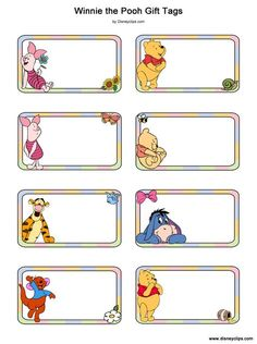 Winnie the Pooh, Piglet, Tigger, Eeyore, Roo, Baby Pooh gift tags