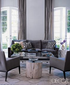 Odds are a fashion designer's home will be just as fabulous as their latest collection, and here are 24 photos to prove it. See how your favorite fashion designer's style carries into their home and what you can do to get the look. #home #interiordesign #fashion #fashiondesigners #designerhomes #hometour #homeinspo #decor #livingroom #bedroom #elledecor Sofa Living, Navy Living Rooms, Living Room Carpet, Living Room Decor, Bedroom Decor, Gray Bedroom, Bedroom Ideas, Grey Couch Decor, Grey Wall Decor