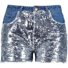 Boohoo Plus Kate Sequin Denim Short (€21) ❤ liked on Polyvore featuring shorts, boohoo shorts, sequined shorts, denim shorts, jean shorts and sequin jean shorts