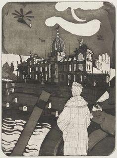 Hans Körnig. Dresden. Radierung, Aquatinta auf Kupfer, 1955. Lisbeth und Margarethe auf der Augustusbrücke mit Blick zur Brühlschen Terrasse und der Kunstakademie. Im Vordergrund ragt ein Schornstein eines Raddampfers der Weißen Flotte ins Bild. Erstmalig verwendet Körnig hier einen Hubschrauber als Kompositionselement, ein Versatzstück, das über die Jahre immer wieder auftaucht. © Repro: Museum Körnigreich