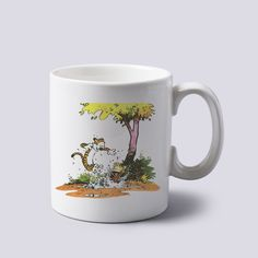 calvin and hobbes playing in garden Mug 11oz Two Sides Coffee Tea Cup Home #MugDesign