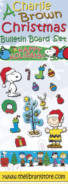 A Charlie Brown Christmas bulletin board set! Decorate your classroom with a little help from Snoopy and the Peanuts gang!