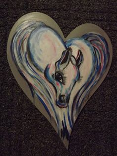 Painting A Heart-Shaped Horse In Acrylics Animal Drawings, Acrylics, Heart Shapes, Arts And Crafts, Horses, Artists, Creative, Pretty, Blog