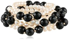 Five Piece  Freshwater Cultured Pearl and Black Onyx and Gold-Filled Beads Stretch Bracelets -- Check out this great product. (This is an affiliate link) #WomenBracelets