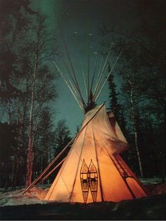Traditional Outdoor Tipi. If you are looking for a real authentic traditional tipi (or teepee), you have come to the right place. Hailing from the Northwest Territories, this tent is made with tough treated canvas and a sod cloth barrier on the bottom, so that it can survive the shifting climate of Canada.: