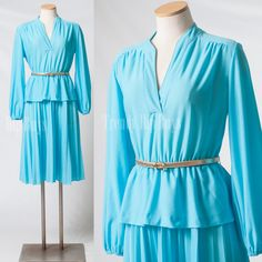 Vintage 70s Dress 70s Turquoise dress70s by TrendyHipBuysVintage