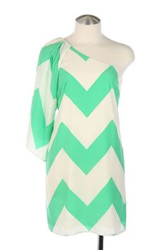 Gorgeous one shoulder chevron dress.