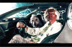 Christopher Lloyd as Doc Brown in the Back to the future trilogy, tribute illustration by David De Bartolome (The Golem and the Owl) in 2016.