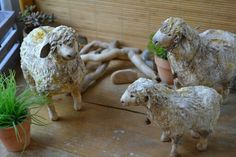 Овцы из ваты и paperclay