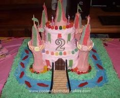 Homemade Princess Castle Birthday Cake: This Homemade Princess Castle Birthday Cake was fairly simply to make. It is two 8x8 square cakes beneath two 6 inch rounds. The towers are two regular