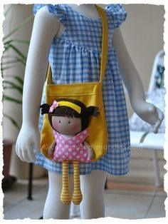 Thought I'd post a picture of My Teeny-Tiny Doll® (MTTD) Chloe and Carry-Me Tote Bag Set I made for a friend of mine. The bag was made using a Michelle's Pattern as a base structure w… Fabric Bags, Fabric Dolls, Rag Dolls, Tiny Dolls, Girls Bags, Sewing Toys, Doll Crafts, Handmade Bags, Handmade Dolls