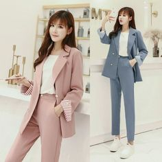 Solid Color Woman Suit Two Piece Set Stylish Year-old Female Costume Conjunto Feminino Office Lady Ensemble Femme Deux Pieces Suit Fashion, Work Fashion, Hijab Fashion, Korean Fashion, Fashion Outfits, Fashion Clothes, Business Outfits, Office Outfits, Classy Outfits