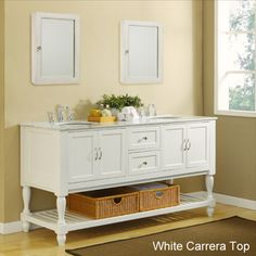 (upstairs) 70-Inch Pearl White Mission Turnleg Double Vanity Sink Cabinet | Overstock.com Shopping - Great Deals on Bathroom Vanities (soft gray walls  with yellow and lavendar touches)