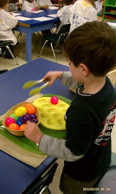 Easter activities Montessori style - I would use a decorated egg carton