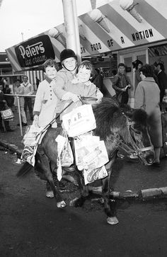 Victoria, Australia 1960s: Show bags the Royal shows. There was NOTHING like the Royal Shows! 1962: Children on a pony at the Royal Melbourne Show. Picture: Herald Sun Image Library ...
