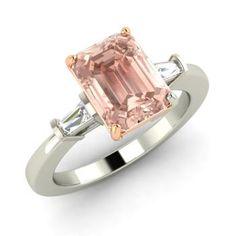 Emerald-Cut Morganite Ring in 14k White Gold with VS Diamond