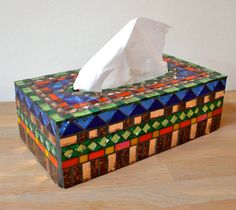 Tissue box cover glass mosaic gold red blue green door mimosaico, $55,00