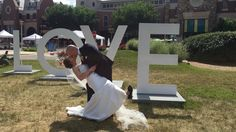Recently married couple stopped by the #LOVEVA loveworks in the Brambleton Town Center at the Brewfest on Saturday for a photo-op!