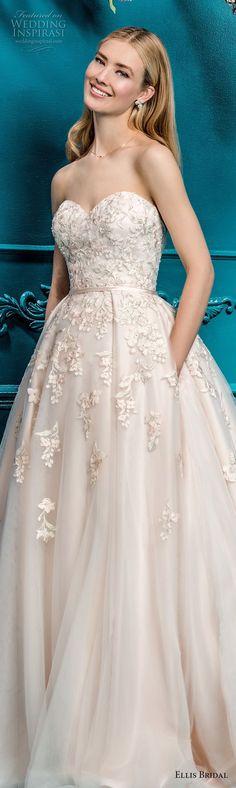 ellis bridals 2018 strapless sweetheart neckline heavily embellished bodice romantic a  line wedding dress with pockets chapel train (1) lv -- Ellis Bridals 2018 Wedding Dresses