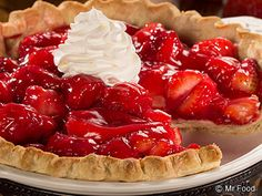 Easy Strawberry Pie - Celebrate summer with this fruit pie recipe. It only takes 5 minutes to cook, cover and chill for a few hours, and it's ready to go! Great for potlucks, parties, or a weeknight dessert.