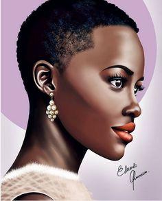FanArtFriday for Lupita Nyong'o, by Eduardo Guerrero. Black Love Art, Black Girl Art, Black Girl Magic, Art Girl, Afrique Art, African Art Paintings, Black Girl Cartoon, Black Art Pictures, African American Artist