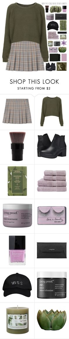 """no one understands // hacked"" by symone-i ❤ liked on Polyvore featuring Topshop, Steve Madden, Aveda, Christy, Living Proof, Forever 21, Butter London, Lancaster, October's Very Own and Surya"