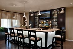 Make your dining room into a bar. Instead of a table, just have a bar to sit and eat. Small Basement Bars, Wet Bar Basement, Basement Bar Plans, Basement Bar Designs, Home Bar Designs, Bar Lounge, Bloomfield Homes, Home Bar Rooms, Modern Home Bar