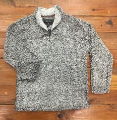 True Grit Frosty Tipped Pile Pullover in Charcoal.  Cozy to the max!