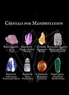 Crystals For Manifestation, Meditation Crystals, Crystal Guide, Crystal Magic, Jade Crystal, Wiccan Spells, Witchcraft, Magic Spells, Crystals And Gemstones