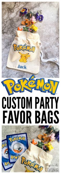 DIY Custom Pokemon Party Favor Bags. Printable designs to  iron onto drawstring totes. These would be perfect for a birthday party or just to store your cards.