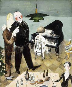 Saman päivän iltana Tivan ja Hallen luona  Hällfors-Sipilä, Greta, taiteilija 1930 Ateneumin taidemuseo, Saman päivän iltana Tivan ja Hallen luona. Björn ja Fagi laulavat gluntteja. Museo Finna