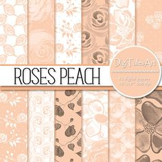 """Flower digital paper pack """"Roses Peach"""" with seamless patterns of watercolor roses, leaves and dots in peach, white and black.  Perfect for scrapbooking, making cards, invitations, collages, crafts, web graphics, and so much more. Digital paper pack by DigiTalesArt."""