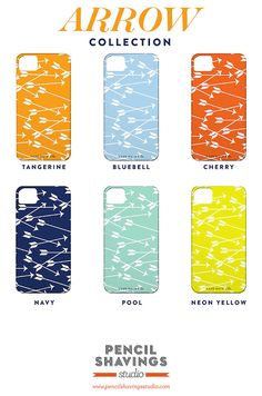 Pencil Shavings Studio's fun Arrow Collection ($40 each) for iPhone 4S or 5 offers six different colors.