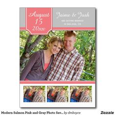 Modern Salmon Pink and Gray Photo Save The Date Postcard