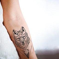 Cool Grey Wolf Geometric Temporary Tattoo Sticker