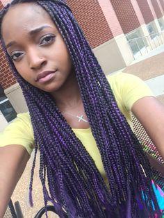 purple and black box braids
